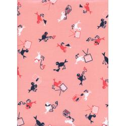K3032-003 Rotary Club - Hello, Yes This Is Bird - Peach Fabric