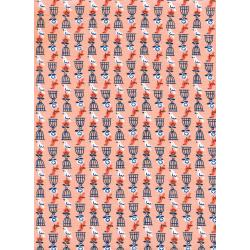 K3036-002 Rotary Club - Birds And Cages - Peach Fabric