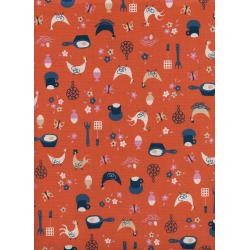 K3058-002 Welsummer - Kitchen Kitsch - Sweet Orange Unbleached Cotton Fabric