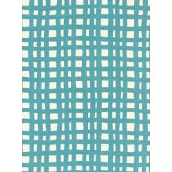 K3046-003 Yours Truly - Going Steady Grid - Teal Unbleached Cotton Fabric