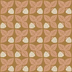 LV300-MG6C Along the Fields - Strawberry - Midsummer Gold Canvas Fabric