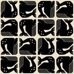 LV100-BK2U By the Seaside - Grumpy Whale - Black Unbleached Fabric