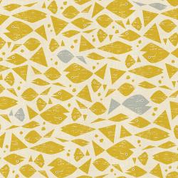 LV102-YE2U By the Seaside - Happy Fish - Yellow Unbleached Fabric