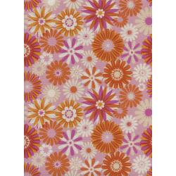 M0061-001 Freshly Picked - Garden - Pink Unbleached Cotton Fabric