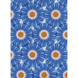 M0063-002 Freshly Picked - Dahlia - Blue Unbleached Cotton Fabric