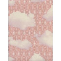 M0064-001 Freshly Picked - Sky - Pink Unbleached Cotton Fabric