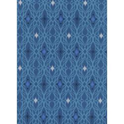 M0065-002 Freshly Picked - Lace - Blue Unbleached Cotton Fabric