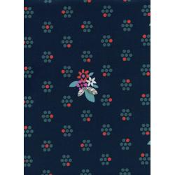 M0029-003 Fruit Dots - Fruit Blossoms - Navy Fabric