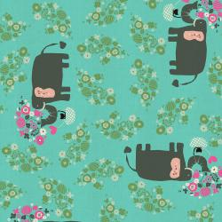 NM102-TU2U Kawaii Nakama - I Heart Elephants - Turquoise Unbleached Fabric