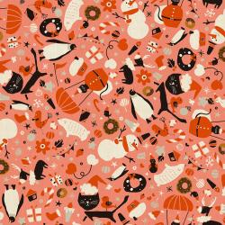 NM202-CO2U Waku Waku Christmas - Mixer - Coral Unbleached Fabric