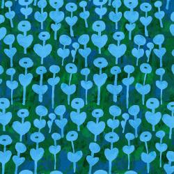 OE101-BL1 Once Upon a Time - Love Flower - Blue Fabric