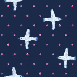 OE201-NA1 Snow Flowers - Winter Birds - Navy Fabric