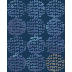OE204-IN2 Snow Flowers - Hydrangea - Indigo Fabric