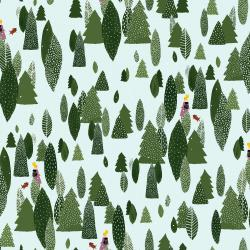 PK103-FO1P Girl's Club - Another Adventure - Forest White Pigment Fabric