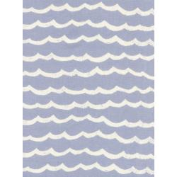 R1948-002 Kujira & Star - Waves - Fog Unbleached Cotton Fabric