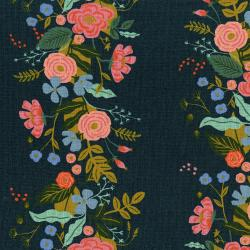 AB8067-022 English Garden - Floral Vines - Navy Canvas Fabric
