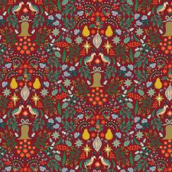 RP600-BE1M Holiday Classics - Partridge - Berry Metallic Fabric