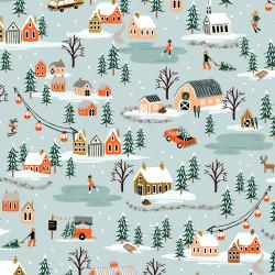 RP603-MI1 Holiday Classics - Holiday Village - Misty Fabric