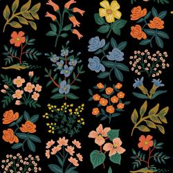 RP202-BK3C Meadow - Wildflower Field - Black Canvas Fabric