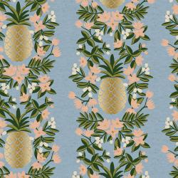 RP302-PE4CM Primavera - Pineapple Stripe - Periwinkle Canvas Metallic Fabric
