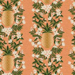 RP302-PH6CM Primavera - Pineapple Stripe - Peach Canvas Metallic Fabric
