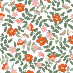 RP402-IV5R Strawberry Fields - Primrose - Ivory Rayon Fabric