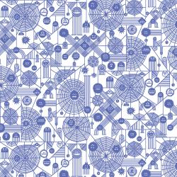 RH103-PE3P Across The Universe - Web Attack - Periwinkle Pigment Fabric