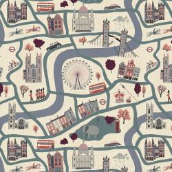 SY100-BL2U London Town - London Forever - Blue Unbleached Fabric