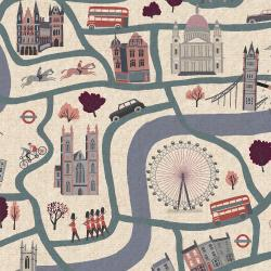 SY100-CD5C London Town - London Forever - Cloudy Day Canvas Fabric (SY100-CD4C)