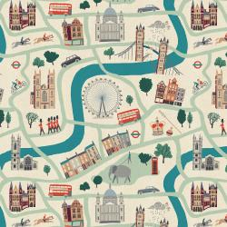 SY100-WH1U London Town - London Forever - White Unbleached Fabric