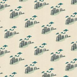 SY105-WH2U London Town - Take Me To Stonehenge - White Unbleached Fabric