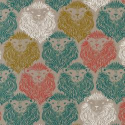 S2007-012 August - Monarch - Coral/Teal Canvas Fabric