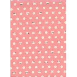 S2030-013 Cat Lady - Friskers - Pink Double Gauze Fabric