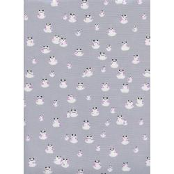 S2072-002 Front Yard - Frogs - Grey Fabric
