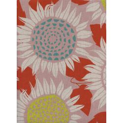 S2074-022 Front Yard - Sunflowers - Pink Canvas Fabric