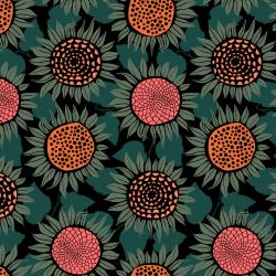 S2076-017 Front Yard - Sunflowers - Green Knit Fabric
