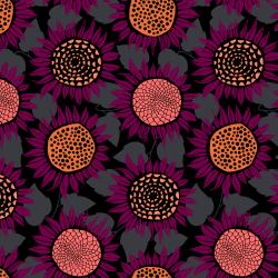 S2076-027 Front Yard - Sunflowers - Purple Knit Fabric