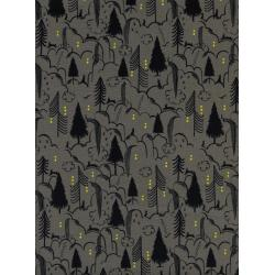 S2047-001 Sleep Tight - Bunny Hill - Grey Unbleached Cotton Fabric