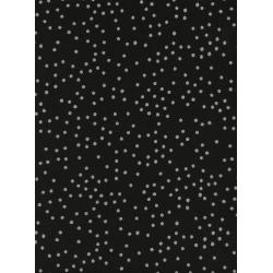 S2051-004 Sleep Tight - Stardust - Matte Black Unbleached Cotton Fabric