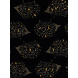S2052-012 Sleep Tight - Prickles - Black Canvas Metallic Fabric