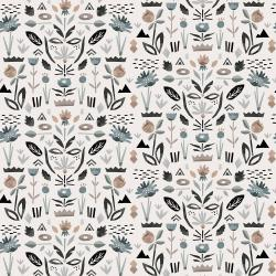 ST104-PE3 In Bloom - Floral Garden - Pebble Fabric