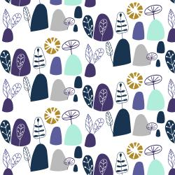 VB100-GV3M Mountains, Rocks, and Pebbles - Rocky Mountians - Gentle Violet Metallic Fabric