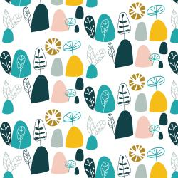 VB100-TE1M Mountains, Rocks, and Pebbles - Rocky Mountians - Teal Metallic Fabric