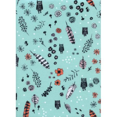 C5144-044 Cozy - Dream Owl - Mint Brushed Twill Brushed Fabric