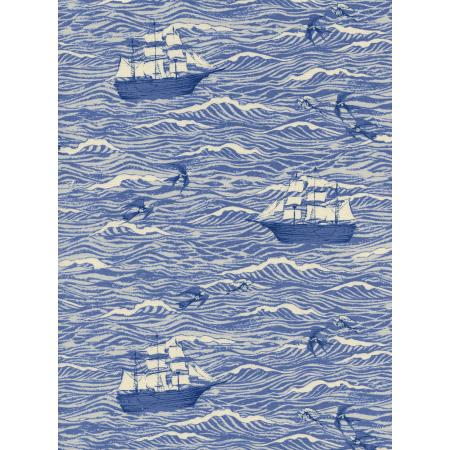 C5094-001 S.S. Bluebird - Out To Sea - Blue Unbleached Cotton Fabric