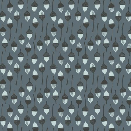LV204-SL3U In The Woods - Acorn - Slate Unbleached Fabric 1