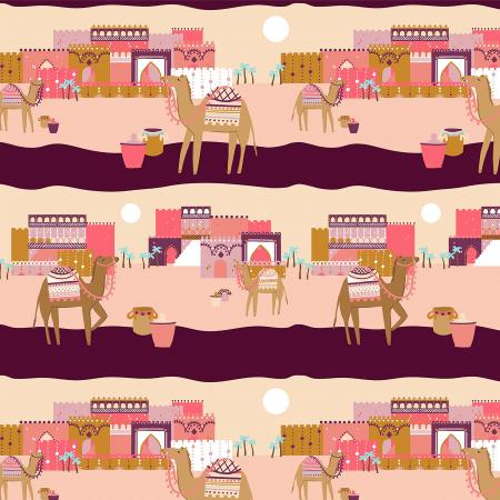MP100-PI2 Sahara - Faraway Place - Pink Fabric 1