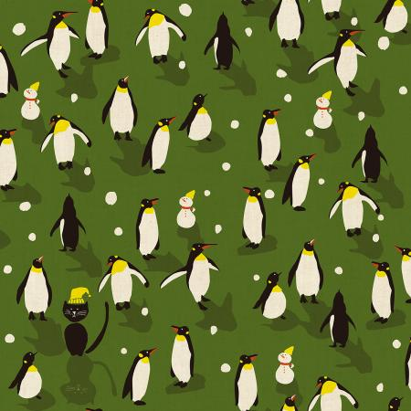 NM203-GR2U Waku Waku Christmas - Penguin Dance - Green Unbleached Fabric