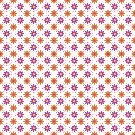 TB103-WH1 From the Desk of... - Daisies in Circles - White Fabric 1